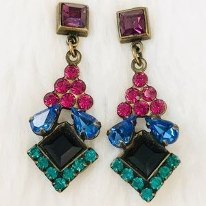 SORRELLI Art Deco pink blue green purple earrings
